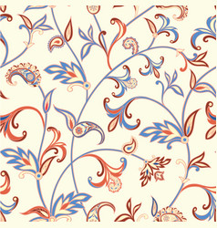 Floral seamless pattern oriental leaves background vector