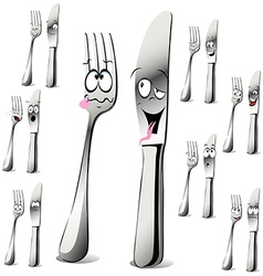 fork and knife cartoon vector image