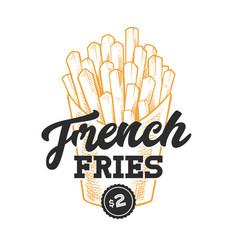 french fries retro emblem vector image