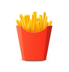 French potato pack box cartoon fastfood fry vector