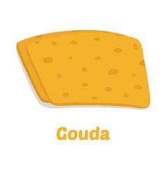 gouda cheese pieces cartoon flat style vector image