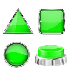 green 3d buttons and icons with metal frame vector image