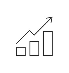 Growing bar graph outline icon vector