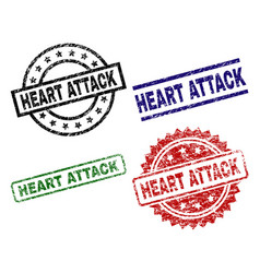Grunge textured heart attack seal stamps vector