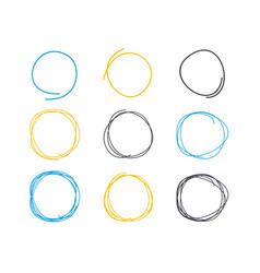 hand drawn circle line sketch circular scribble vector image