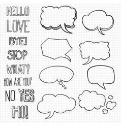 hand drawn emotional phrases and speech bubbles on vector image