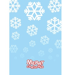 Happy Christmas card Falling snowflakes on blue vector