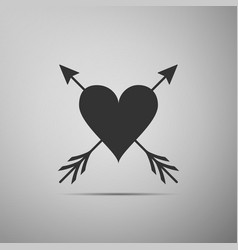 heart with arrow icon isolated on grey background vector image