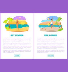 Hot summer web posters set woman sexy bikini man vector