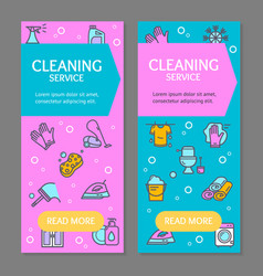 Household and cleaning tools flyer banner posters vector