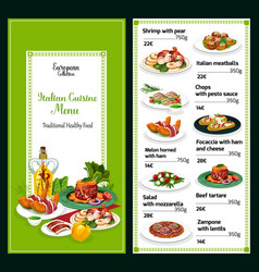 Italian traditional food restaurant menu dishes vector
