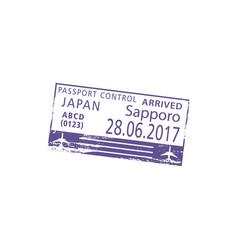 Japan border visa stamp sapporo airport control vector