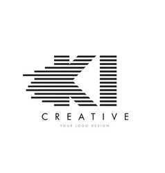 ki k i zebra letter logo design with black and vector image