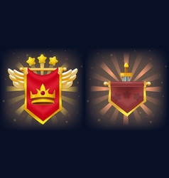 Knight flags with victory and failure for game vector