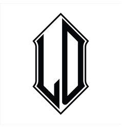 Ld logo monogram with shieldshape and outline vector