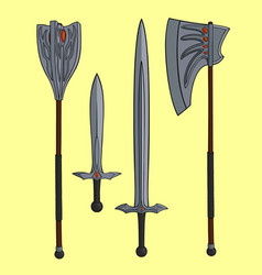 legendary one handed weapons vector image
