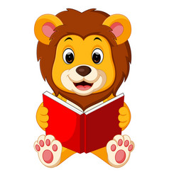Lion reading book vector