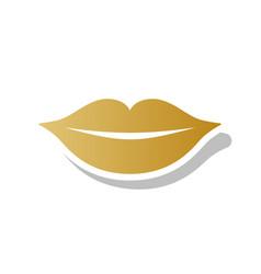 Lips sign golden gradient vector