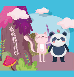 Little pink cat and panda cartoon character forest vector