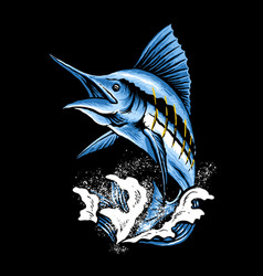 Marlin fish art vector