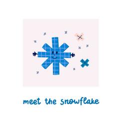 meet snowflake winter christmas season card vector image