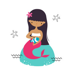 mermaid with black hair sitting on boulder vector image