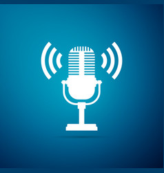microphone icon isolated on blue background vector image