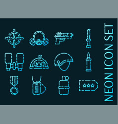 military set icons blue glowing neon style vector image