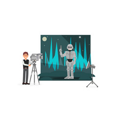 Movie operator shooting scene with astronaut vector