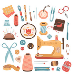 needlework tools craft hobsew knitting vector image
