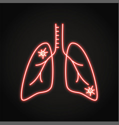 neon lung pneumonia icon in line style vector image