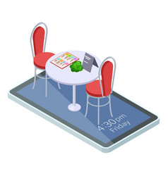 online reserved table in cafe or restaurant with vector image