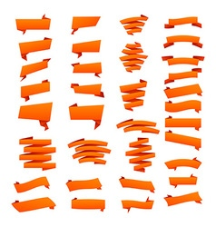 Orange Ribbons Set isolated On White Background vector image