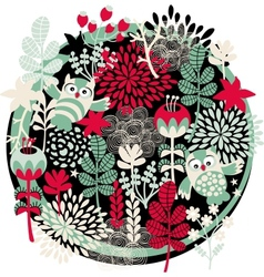 Owls flowers and other nature vector image