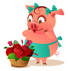 pig housewife female and large basket of flowers vector image