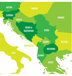 Political map of balkans - states of balkan vector