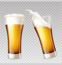 realistic beer splashes in transparent vector image