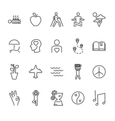 relaxation techniques outline icon set vector image