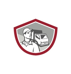 Removal Man Delivery Van Shield Retro vector