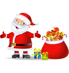 Santa with a bag of Christmas Gifts vector