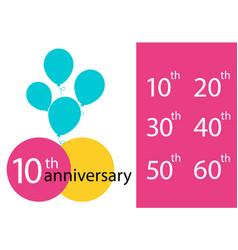 set anniversary emblems anniversary template vector image