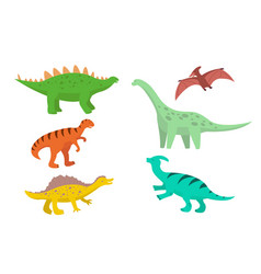 set cartoon dinosaurs diplodocus stegosaurus vector image