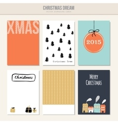 Set of christmas greeting journal cards vector
