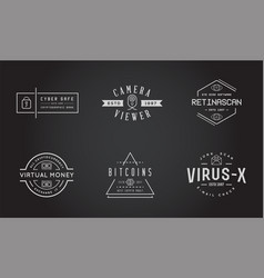 set of cyber security identity badges and signs vector image
