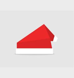set red santa hat origami design icon vector image