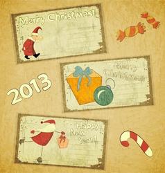set retro christmas cards vector image