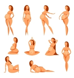 set stylized silhouettes pregnant women vector image