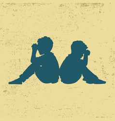 silhouette of praying children vector image
