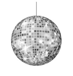 Silver disco ball dance night club retro vector