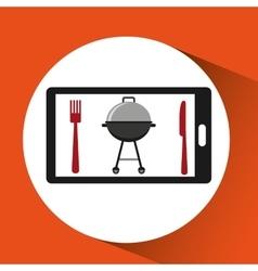 Smartphone order bbq food online vector